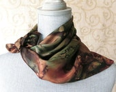 Hand Dyed Square Silk Scarf Bandana in Olive Green and Brown