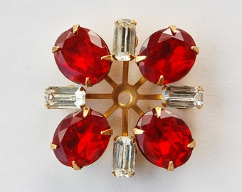 Vintage Glass Spoke Ruby Red & Clear Octagons Brass Setting 30mm