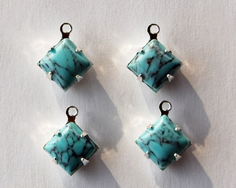 Vintage Turquoise Matrix Glass 4 Square Pendants 8mm Sterling Silver Plated Settings