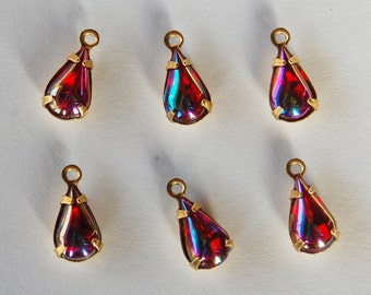 Vintage Ab Glass Tear Drop Pendant 6 Ruby Glass Beads 10x6mm