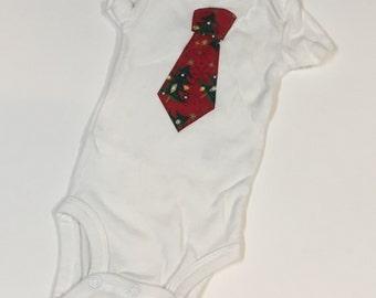 Baby Boys Necktie Onesie // Boys Christmas Tie Onesie // Necktie Clothes // Size Newborn