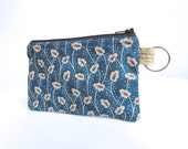 Blue and Tan Zippered Bag / Coin Purse / Id Case / Gadget Pouch with Split Ring - READY TO SHIP