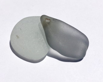 Drilled Sea glass RARE  Grey  Pendant   From Puerto Rico (225)