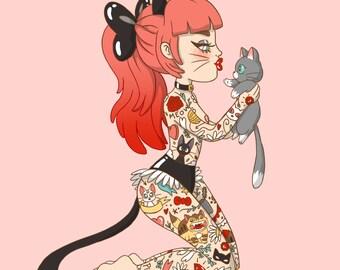 A4 Tattooed Cat Lady Print