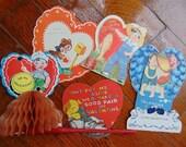 Vintage 1920s - 50s Cute Children Kewpie and Animals Victorian Valentine Card lot 5 Cards Paper Ephemera