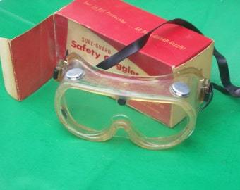 Vintage Steampunk American Sure Guard Safety Googles w/Box