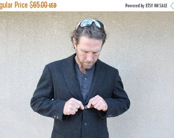 SALE SALE SALE Vintage Mens Suit Coat Tweed Black Gray Grey Striped Wool Size 40 Medium Fall Winter Fashion Wedding Hipster