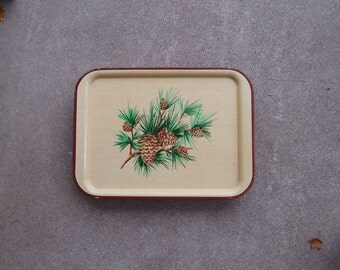 Vintage TV Tray Metal Pine Tree Cones Christmas Holidays Cabin Cottage Home Decor Set Four Plus Brown Green Woodland