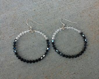 SALE Simple Crystal Hoops Hoop Earrings, big hoops, plain, solid, swarovski, sale jewelry, genuine, black white clear neutral