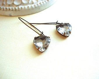 Heart Earrings Crystal Heart Earrings Vintage Jewels Dangle Earrings Brass Jewelry Long Earrings Costume Jewelry Wedding Jewelry