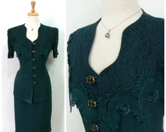 Vintage 60s Suit 2 pc set Emerald, Lace Embroidered Fitted blazer Pencil skirt Large