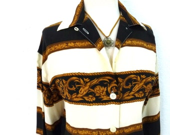 Vintage Silk Blouse Versace Inspired Baroque Golden print size M/L