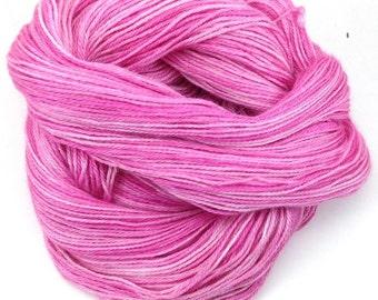 Fingering weight yarn, Upstream Delight - baby alpaca, silk, cashmere, Bright Pink