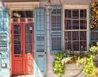 Colorful Cottage Creole House Picture, New Orleans Door Photography, French Quarter Art Print.