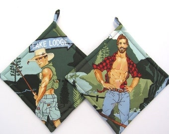 Hot Hunky Sexy Men Campers Pot Holders Set of Two
