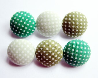 Fabric Covered Buttons - Shades of Green - 6 Medium Fabric Buttons Set