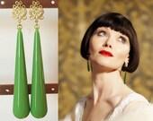 Phryne Fisher Green Teardrop Earrings- e666