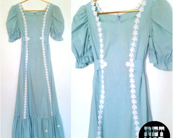 Sweet Vintage 60s Lolita Dolly Pastel Blue Dress with White Flowers and Flocked Polkadots!