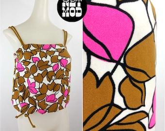Beautiful Vivid Vintage 60s Mod Pop Brown, Pink and White Floral Print Bathing Suit Crop Top!