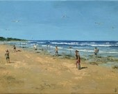 Original Oil Painting by Dusan 'Cricket on the Beach'