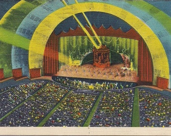 Vintage Postcard- Radio City Music Hall - Rockefeller Center - 1939 -  New York - 30 Rock retro linen card  excellent condition