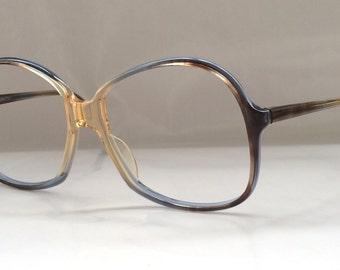 80s Vintage German Marwitz 'Yves Chantal' Ladies Child Tricolor Brown Blue Transparent Eyeglasses
