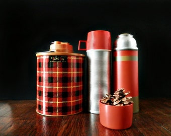 Vintage Thermos Collection, Plaid Thermos, Metal Thermos, Camping Gear, Rustic Decor