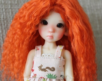 "Merida Carrot mohair wig for Kaye Wiggs tiny ""illies"""