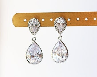 Silver Crystal Wedding Earrings Glass Teardrop Cubic Zirconia Earrings