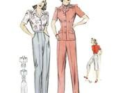1940s Slack Suit Slacks and Jacket or Blouse Vintage Sewing Pattern Hollywood 1114