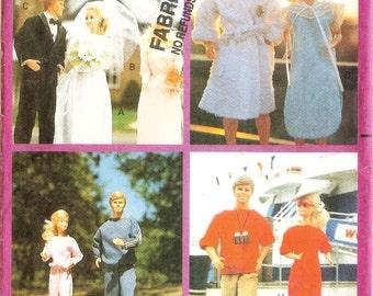 1980s Barbie & Ken Fashion Doll Clothes Sewing Pattern Butterick 3569 Uncut