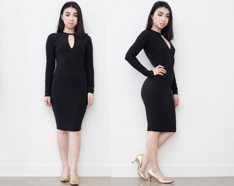 Discounted Black Keyhole Bodycon Dress XS S