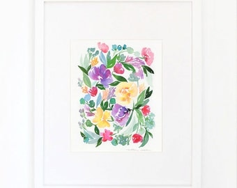 Watercolor Lavender Floral Print