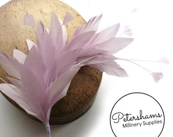 Stripped Diamond Coque & Goose Feather Wired Millinery Hat Mount - Lilac