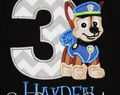 Chase Birthday Shirt, Paw Patrol Birthday Shirt, Chase Shirt, Police Dog Shirt, Personalizd Paw Patrol Shirt, Paw Patrol, Ages 1-9, Custom