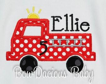 Girls Fire Truck Birthday shirt, Fire Engine Birthday Shirt, Firefighter Birthday Shirt, Custom, Any Age