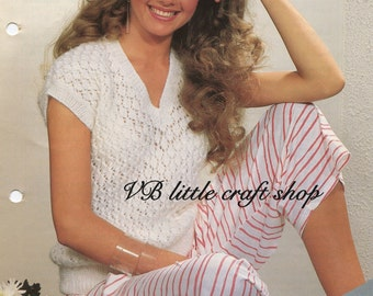 Woman's summer top knitting pattern. Instant PDF download!