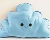 Light Blue Kawaii Happy Cloud Pillow Cushion Plush Felt Decoration Weather Cute Smiling Photo Prop Plushie Kids Room