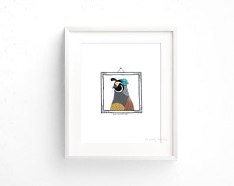 Quail in a Half Hat (100 Animals in Hats Series) - Giclee print of original collage illustration - 8 x 10in