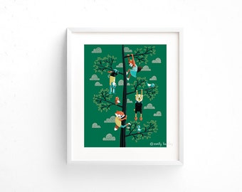 Go Climb a Tree - Giclee of an original illustration (8 x 10in)