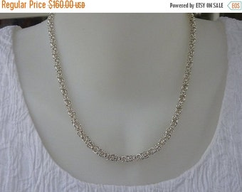10% sale, necklace of sterling silver chainmaille, handmade byzantine, artisan quality, fine jewelry, unique design