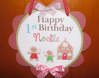 Gingerbread Girl Door Sign, Gingerbread Birthday Decorations, Gingerbread Party