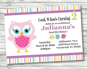 Owl Birthday Invitation - Owl Party Supplies - Personalized Invitation - Custom Owl Party Supplies - Download and Print!