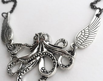 Silver Cthulhu Necklace Winged One Octopus Necklace H P Lovecraft Cephalopod Layering Necklace