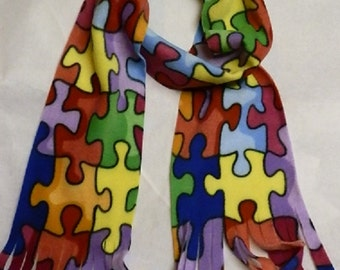 Autism Awareness Puzzle Piece Scarf