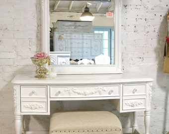 Painted Cottage Chic Shabby White Romantic French Vanity / Desk