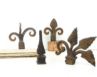 4 Rusty Vintage Finials Fleur de lis Leaf Scroll Architectural Salvage Repurpose