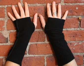 Black Cashmere Fingerless gloves-armwarmers- patchwork gloves- upcycled recycled sweater- texting gloves- fingerless- sustainable fashion