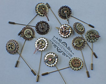 Steampunk Hat Pin Clockwork Lapel Pin Cog & gears Tie Pin Tie Tack Brooch Back Pin Clock Hands Watch Parts Jewelry Steampunk Wedding Brass