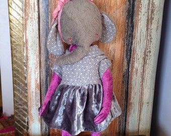 St. Valentine Day SALE 11 inch Artist Handmade Teddy Elephant Lolita by Sasha Pokrass
